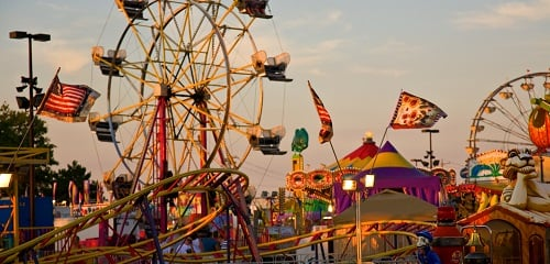 Image of Carnival Rides at a State Fair.