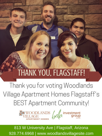 Thank you for voting Woodlands Village Apartment Homes Flagstaff's best apartment community!