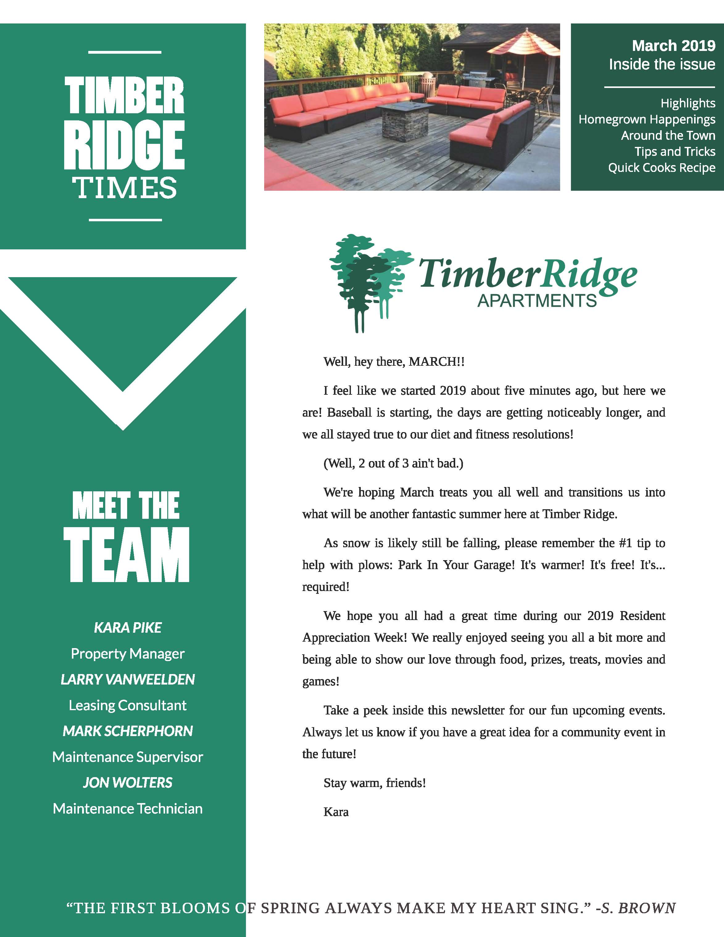 March 2019 Newsletter The Timber Ridge Times
