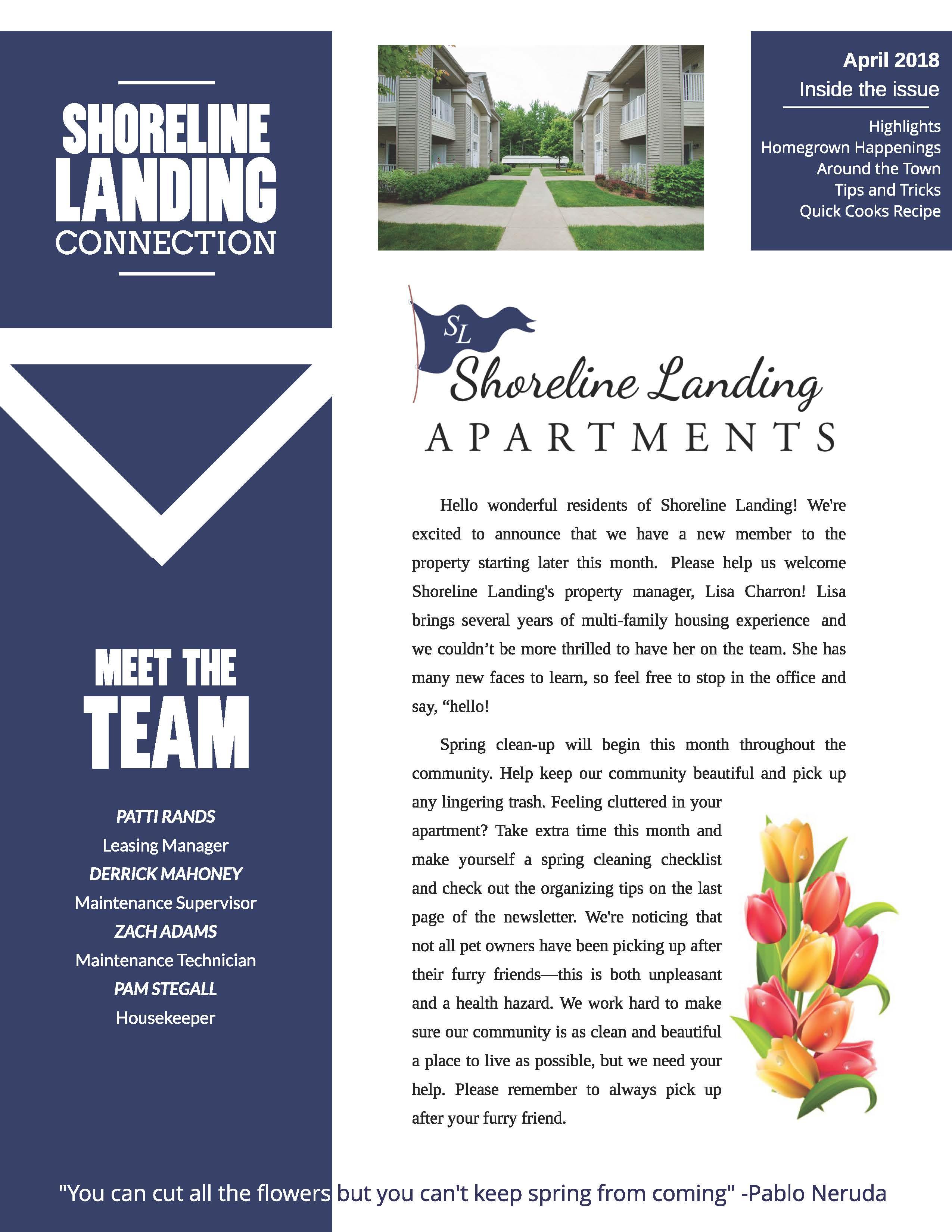 ad12431d06f4 April 2018 Edition Newsletter: Shoreline Landing Connection